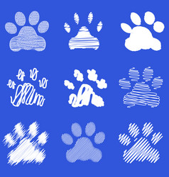 Footprints of dog paws vector