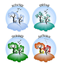 Four seasons winter spring summer autumn vector