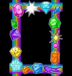 Frame with cute kawaii crystals or gems vector