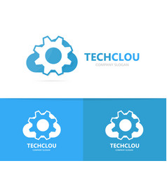 Gear and cloud logo combination vector