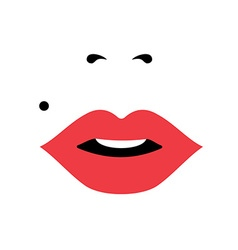 Girl face with red lipstick womens day concept art vector