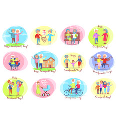 Grandparents day set of posters daily activities vector