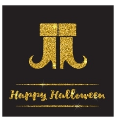 Halloween gold textured boots icon vector image