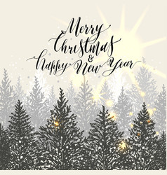 Hand drawn christmas card new year trees with vector