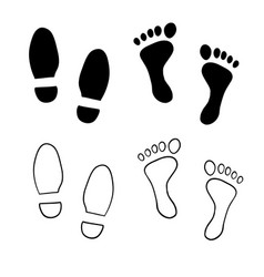 Hand drawn shoe print foot print with doodle vector
