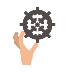 Hand holding single gear icon vector