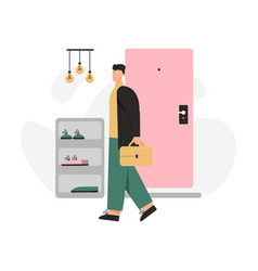 Happy man returns home from work and standing vector