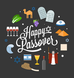 happy passover poster pictogram with moses vector image