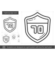 Highway sign line icon vector