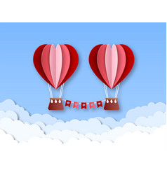 hot air balloon in heart shape happy valentines vector image