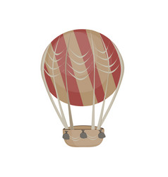 hot air balloon in the sky icon flat cartoon vector image
