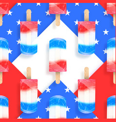 Ice cream popsicles america flag colors seamless vector