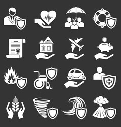 Insurance icons set grey vector