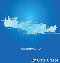 Island of Crete in Greece map vector