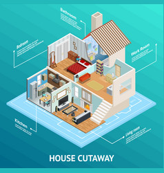 Isometric house profile concept vector