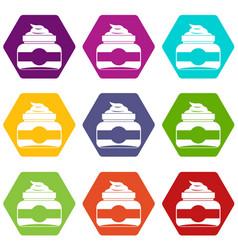 jar of cosmetic cream icon set color hexahedron vector image