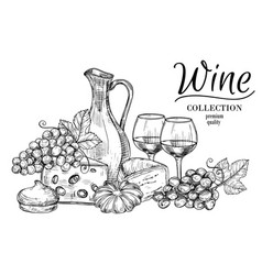 Jug wine cheese sweets and glasses sketch vector