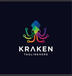 Kraken octopus tech logo cuttlefish squid logo vector
