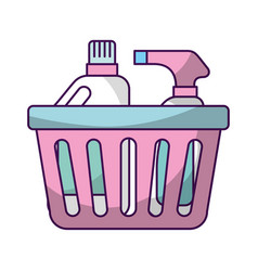 Laundry basket with detergent bottles vector