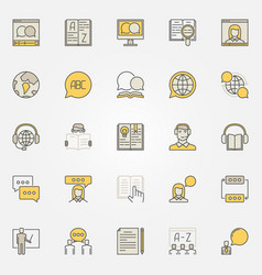 Learn language colorful icons vector