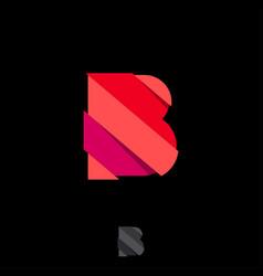 Letter b red paper cut strips monogram vector