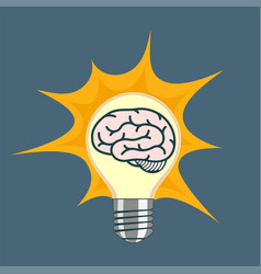 light bulb with human brain inside vector image
