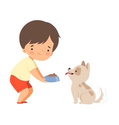 Little boy carrying bowl to feed his puppy vector