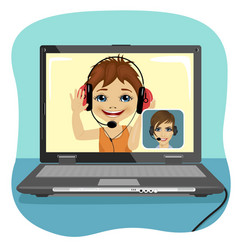 Little boy chatting with his mother via internet vector image