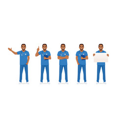 male nurse character set vector image