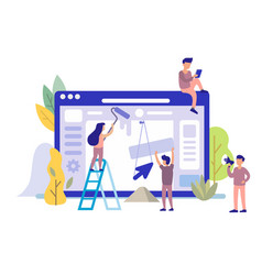 Man and girl building website vector