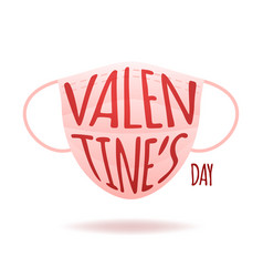 Medical face mask with text valentine day vector