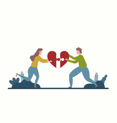 men and women who assemble puzzle in heart for vector image