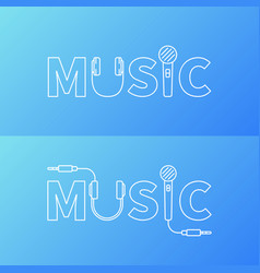 music word logo or symbol in line style vector image
