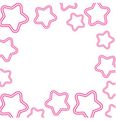 neon light stars decoration white background vector image