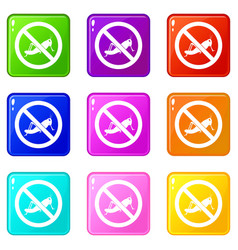 No locust sign icons 9 set vector