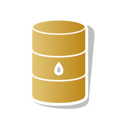 Oil barrel sign golden gradient icon with vector