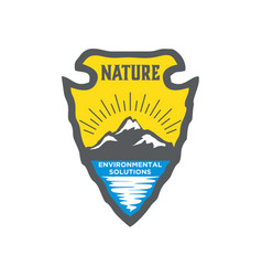 Osage logo nature with mountain valley river vector