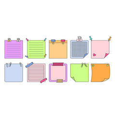 paper sticky note set planning notebook vector image