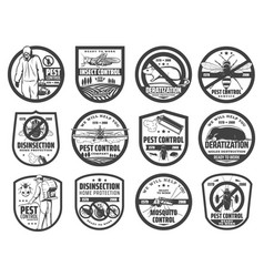 pest control service isolated icons with insects vector image