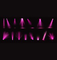 pink spotlights beams and floor projectors vector image