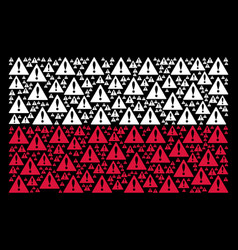 Polish flag mosaic of warning icons vector