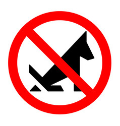 poop dog stop prohibition sign black silhouette vector image