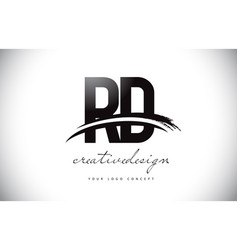 Rd r d letter logo design with swoosh and black vector