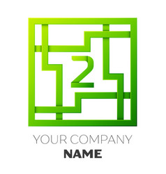 Realistic number two logo in colorful square maze vector