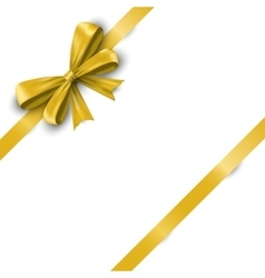 Realistic yellow satin ribbon bow with tails vector