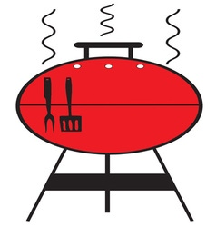 Red bbq grill vector