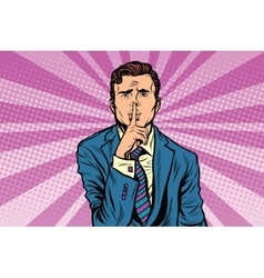 retro man making silence gesture shhh vector image