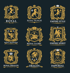 royal heraldry heraldic lion and horse animals vector image