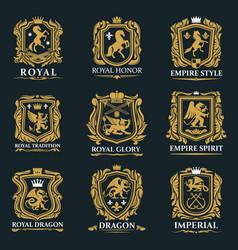 Royal heraldry heraldic lion and horse animals vector