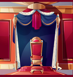 Royal throne in medieval castle cartoon vector